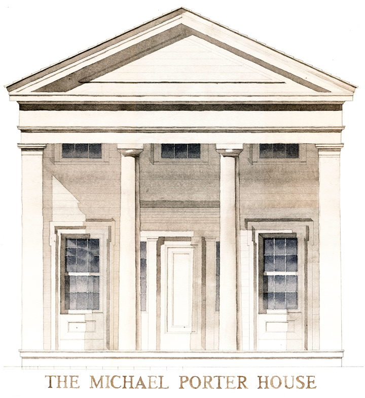 Watercolor rendering of an existing building