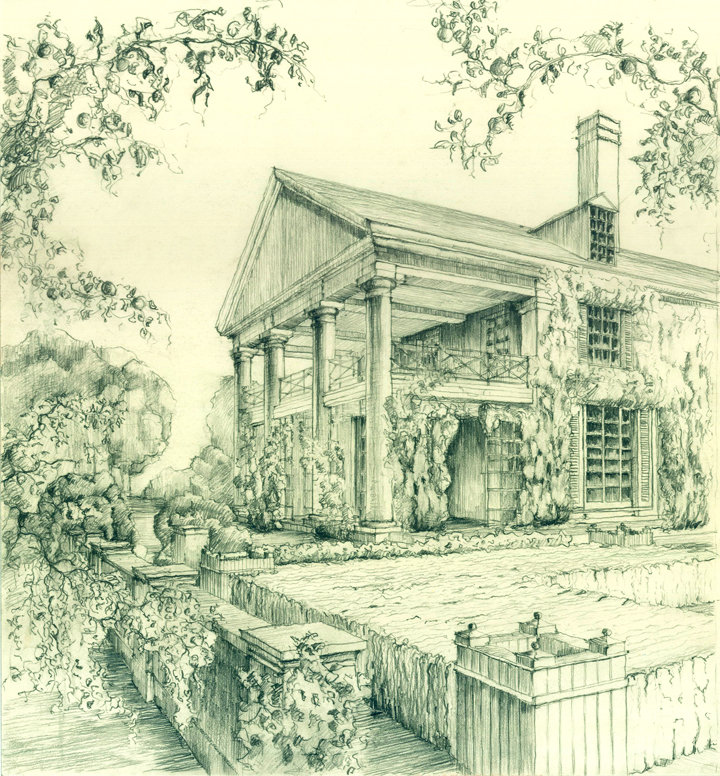 Perspective of an existing building, hand drawing