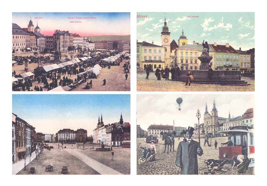 The town square on historical postcards 1